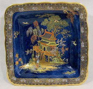 W & R Carlton Ware -New Mikado Design Blue Lustre Square Dish - 1920s - SOLD